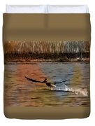 Flight Of The Pelican-featured In Wildlife-newbies And Comfortable Art Groups Duvet Cover