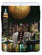 Flight Over The New York Skyline On A Hot Air Balloon Duvet Cover by Marvin Blaine