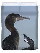 Flightless Cormorant And Chick Galapagos Duvet Cover