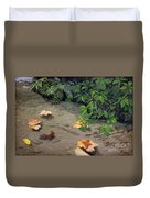 Floating Leaves By George Wood Duvet Cover