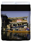 Floating Shop Along With Another Shop On Floats In The Dal Lake Duvet Cover