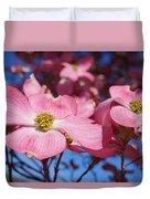 Floral Art Print Pink Dogwood Tree Flowers Duvet Cover