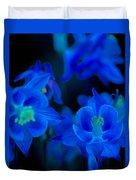 Floral Blue Orchid On Black Duvet Cover