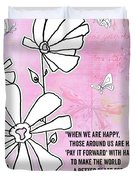 Floral Typography Word Art Quote Flowers And Butterflies By Megan Duncanson Duvet Cover