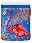 Florida Pink Flamingo - Modern Impressionist Art Duvet Cover