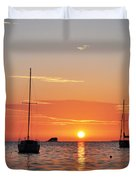 Florida Sailboat Sunset Duvet Cover