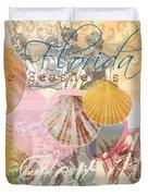 Florida Seashells Collage Duvet Cover