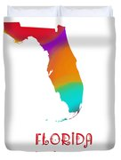 Florida State Map Collection 2 Duvet Cover