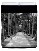 Florida Walkway Black And White Duvet Cover