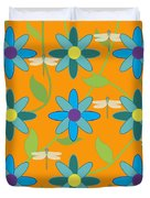Flower And Dragonfly Design With Orange Background Duvet Cover