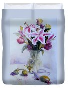 Flower Bouquet With Teapot And Fruit Duvet Cover