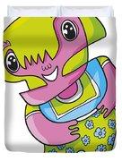 Flower Girl Doodle Character Duvet Cover by Frank Ramspott