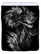 Flower In Black-and-white Duvet Cover