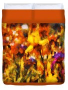 Flower - Iris - Orchestra Duvet Cover by Mike Savad