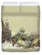 Flower Market Marche Aux Fleurs Duvet Cover by Eugene Galien-Laloue