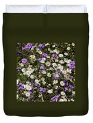 Flower Mix - Purple And White Duvet Cover