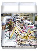 Flower On A Bicycle 2 Duvet Cover