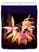 Flower - Orchid - Laelia - Midnight Passion Duvet Cover by Mike Savad