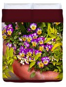 Flower - Pansy - Purple Posies  Duvet Cover by Mike Savad
