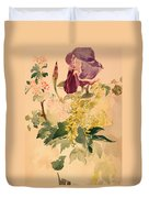 Flower Piece With Iris Laburnum And Geranium Duvet Cover