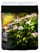 Flower - Rose - By A Wall  Duvet Cover by Mike Savad