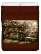 Flower - Rose - In The Rose Garden  Duvet Cover by Mike Savad