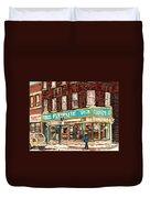 Flower Shop Rue Notre Dame Street Coin Vert Fleuriste Boutique Montreal Winter Stroll Scene Duvet Cover