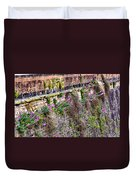 Flower Wall Along The Arno River- Florence Italy Duvet Cover