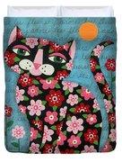 Flowered Calico Black Cat Duvet Cover