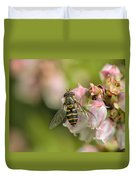 Flowerfly Pollinating Blueberry Buds Duvet Cover