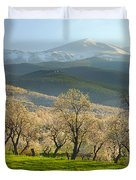 Flowering Almond At The Mountains Duvet Cover