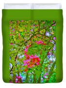 Flowering Blossoms Tree Paint Style Duvet Cover