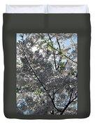 Flowering Cherry - White Duvet Cover