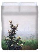 Flowering Chrysanthemum With Worker Duvet Cover by Leon Bonvin