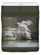 Flowering Tree At The Pond Duvet Cover