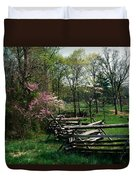 Flowering Trees In Bloom Along Fence Duvet Cover