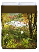 Flowers Along The River In Fall Duvet Cover