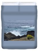 Flowers And Crashing Waves Duvet Cover