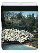 Flowers And Pool Duvet Cover