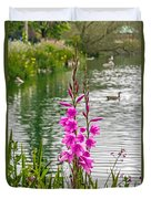 Flowers At The Lake Duvet Cover