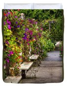 Flowers By A Bench  Duvet Cover