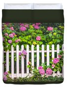Flowers - Floral - White Picket Fence Duvet Cover