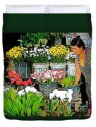 Flowers For Sale In Marketplace In Tachilek-burma Duvet Cover