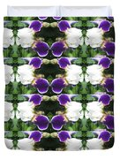 Flowers From Cherryhill Nj America White  Purple Combination Graphically Enhanced Innovative Pattern Duvet Cover