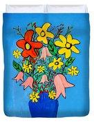 Flowers In A Blue Vase Duvet Cover