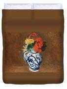 Flowers In A Blue Vase Duvet Cover by Odilon Redon