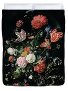 Flowers In A Glass Vase, Circa 1660 Duvet Cover
