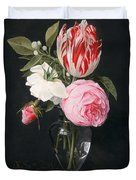 Flowers In A Glass Vase Duvet Cover by Daniel Seghers