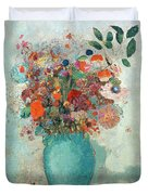 Flowers In A Turquoise Vase Duvet Cover