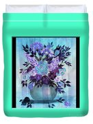 Flowers In A Vase With Blue Border Duvet Cover
